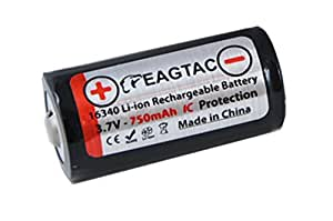 Eagletac 16340 RCR123A - Li-Ion 3.7V Protected Rechargeable Battery (Rechargeable CR123A)