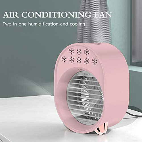 bestheart Air Cooler,Personal Mini Space Cooler with LED Light and Purifier,Air Humidifier for Home & Office Desk Outdoors Travel (Pink)