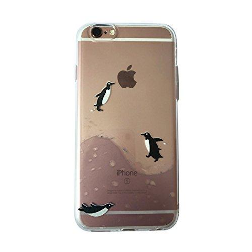 Whimsical Penguin (iPhone 6 Plus Case, iPhone 6s Plus Case,Amever Amusing Whimsical Design Bumper Case [Scratch-Resistant]Clear Soft TPU Rubber Skin Back Cover for 5.5 inch iPhone 6 plus /6s Plus - Penguin)