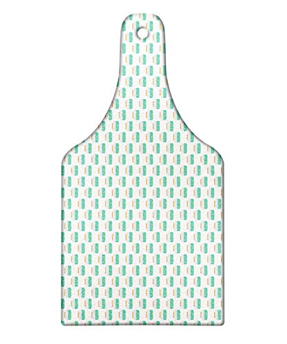 Lunarable Eyeball Cutting Board, Halloween Themed Repeating Doodle Pattern of Eyes in Jar, Decorative Tempered Glass Cutting and Serving Board, Wine Bottle Shape, Sea Green Baby Blue Apricot and White