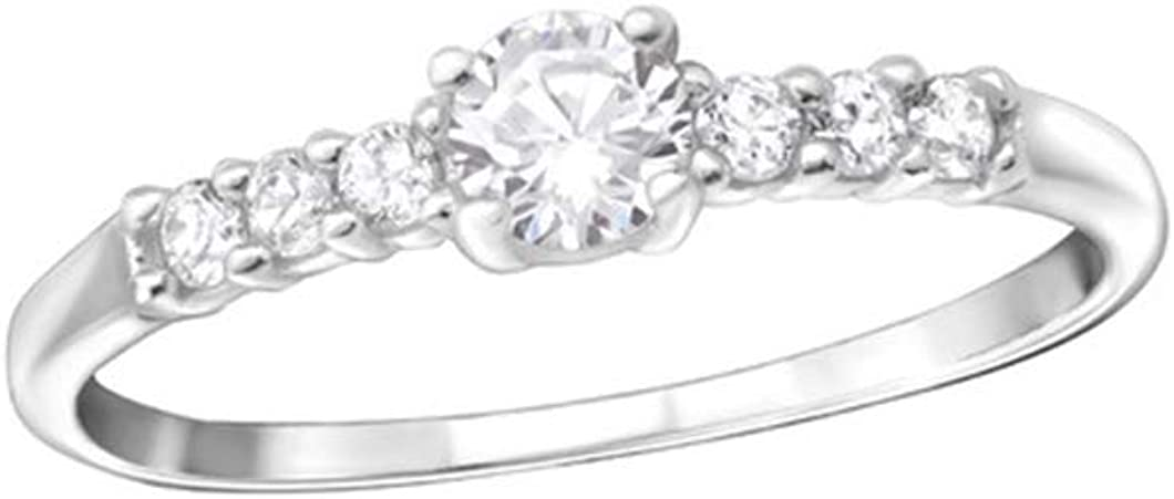 Polished Nickel Free Solitaire Jeweled Rings 925 Sterling Silver Liara