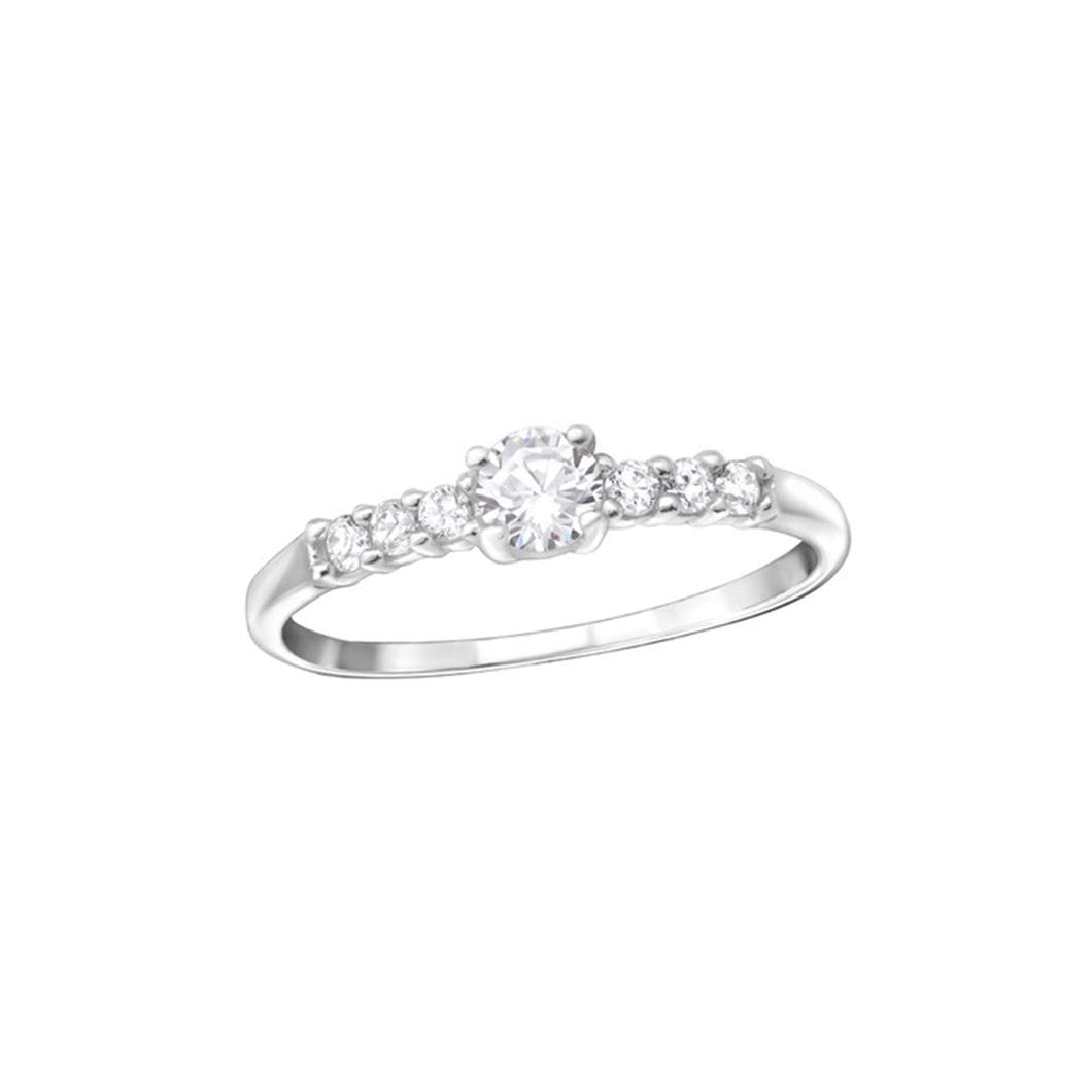 Liara Solitaire Jeweled Rings 925 Sterling Silver Polished Nickel Free
