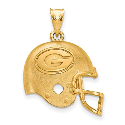 NFL Sterling Silver Gold-Plated LogoArt Green Bay Packers Helmet Pendant