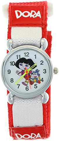 Dora the Explorer Mini Dial Red Nylon Velcro Quartz Analog Wrist Watch Children Kids Girls Boys Gift