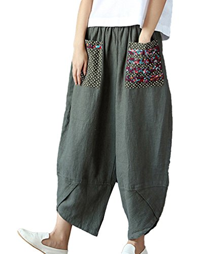 5367dfcf966b2 NiSeng Women National Winds Splice Harem Pants Linen Baggy Pants Palazzo  Pants Wide Leg Pants - Buy Online in UAE.