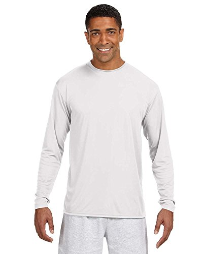 A4 Adult Cooling Performance Long-Sleeve T-Shirt, Wht, Large