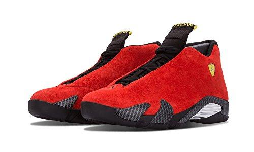 Nike Mens Air Jordan 14 Retro Ferrari Challenge Rosso / Nero Vibrante Pelle Scamosciata Gialla