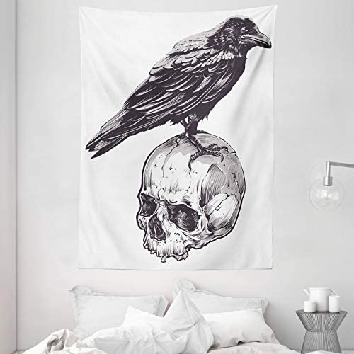 Ambesonne Scary Tapestry, Scary Movies Theme Crow Bird Sitting on a Human Old Skull Sketchy Image, Wall Hanging for Bedroom Living Room Dorm, 60 X 80 , Charcoal Grey