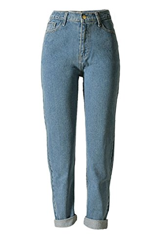 Blansdi Pantalon Printemps Jeans Mince BF Style Vintage Slim Taille Haute Denim Leggings Collant Bleu Bleu