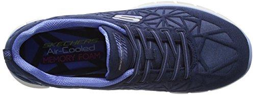 Skechers Womens Glider Bungee Lace Sneaker Marine / Blauw