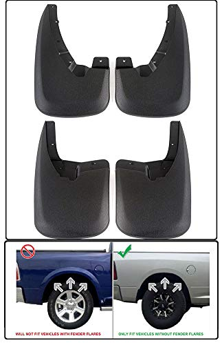 4 Pieces of Premium All-Weather Front & Rear Mud Flaps Fit Dodge Ram Without OEM Fender Flares (2009-2018 1500, 2010-2018 2500/3500 No Dual Rear Wheels) - Easy Installation + Custom Fit (Black)