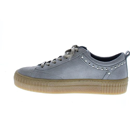Bronx Light Grey Leather Low Shoe Hellgrau