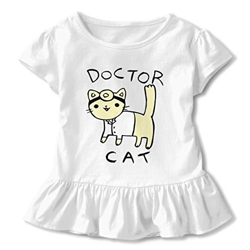 Kids Little Girl Doctor Cat Short Sleeve Dress Ruffle T Shirts Tops Tee Clothes White -