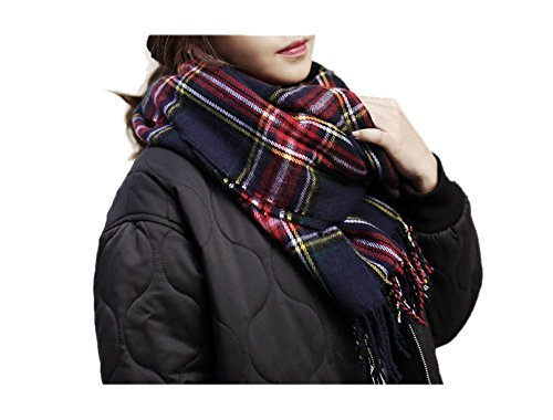 ARJOSA Women Knitted Plaid Oversized Long Scarf Shawl Wrap (#8 PLAID Blue Red)