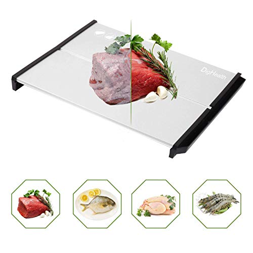 DigHealth Rapid Thaw Defrosting Tray,5mm Thickness HDF High Density Aviation Alloy Thawing Tray for Thawing Meat/Chicken/ Fish,Fast defrosting of Frozen Meat,Best Cooking Tool