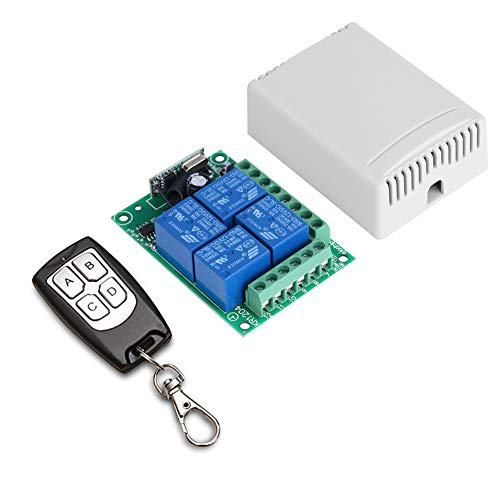 433Mhz Universal Wireless Remote Control Switch DC12V 4CH Relay Receiver Module and 4 Button RF Remote 433 Mhz Transmitter