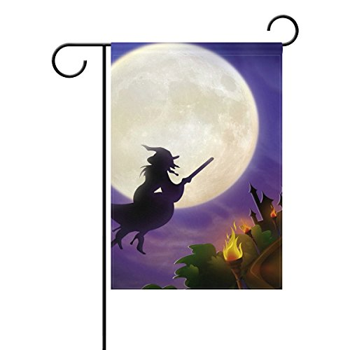 Vipsk Halloween Under The Witch Purple Long Polyester Garden Flag Banner 28 x 40 inch for Wedding Anniversary Home Outdoor Garden Decor (City Of Cincinnati Halloween)