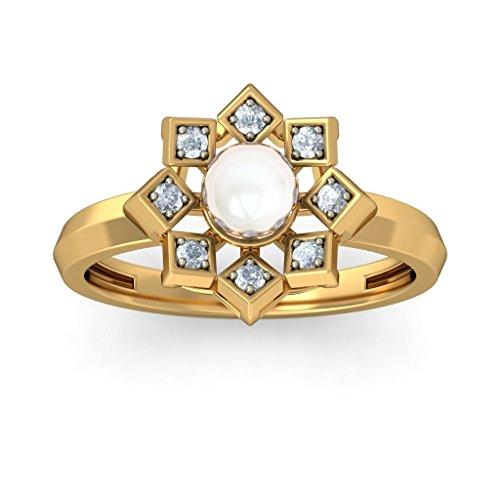 18K Or jaune, 0,12carat Diamant Blanc (IJ | SI) Blanc perle et diamant Bague