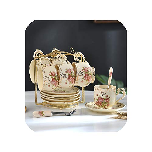 Tea Cup Set Ivory Ceramic Coffee Cups Set Ceramic Advanced Porcelain Cup and Saucer with Stainless Spoon,6 CUPS2