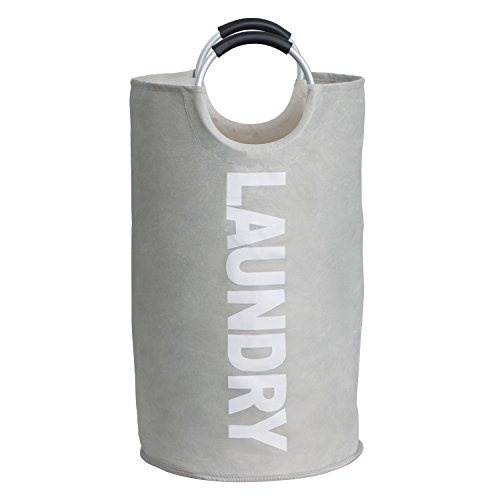 Raimodiüs Laundry Hamper,Clothes Hamper,Collapsible and Waterproof Clothes Bag.Round Handles for easy carrying.Suitable for Dorms and Travel.(Grey) by Raimodiüs (Image #1)
