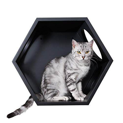 MYZOO Busycat (Black): Wall Mounted Cat Bed, Wooden Cat Furniture, Floating Cat Perch, Cat Tree, Cat Shelves