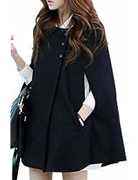 Women's Stylish Buttons Poncho Cape Batwing Sleeve Warm Cloak Coat