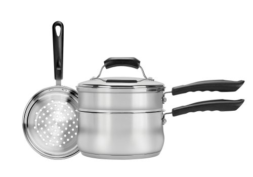 - Range Kleen CW2011R 3-Piece 3-Quart Sauce Pan with Lid, Steamer and Double Boiler Insert