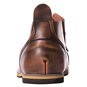 UJoowalk Men's Brown Fashion Leather Lace-Up Cap Toe Dress Short Ankle Desert Casual Chukka Boots - Size 10
