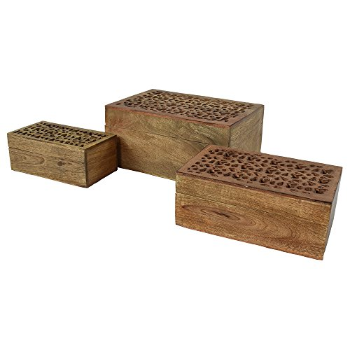 Indian Heritage Jewelry Box Mango Wood Carved with Mirror in Natural Finish (Carved Mango Box Wood)