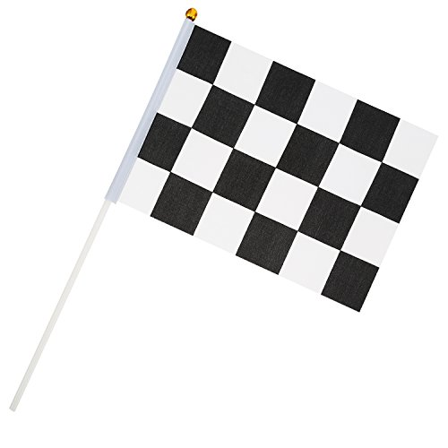 Checkered Flag Racing Set (Pangda 24 Pieces Checkered Flag 8 x 5.3 Inch Racing Polyester Flags with Plastic Stick)