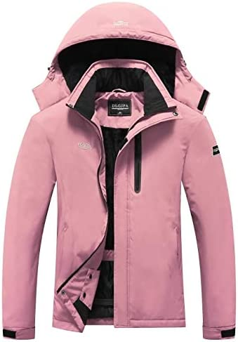 DLGJPA Women's Mountain Waterproof Ski Jacket Hooded Windbreakers Windproof Raincoat Winter Warm Snow Coat