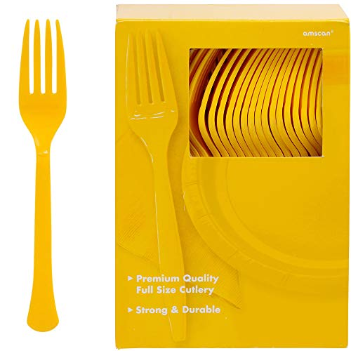 (Big Party Pack Plastic Forks | Sunshine Yellow | 100 ct. | Party Supply)