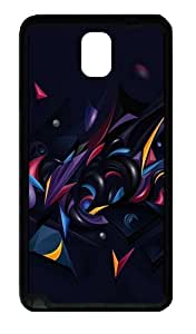 3D Abstract Chaos Color Custom Designer Samsung Galaxy Note 3 / Note III/ N9000 - TPU - Black
