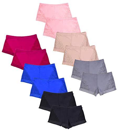 Women's Premium Lace Side Trim Boyshort Panty (12 Pack) (X-Large, Assorted)