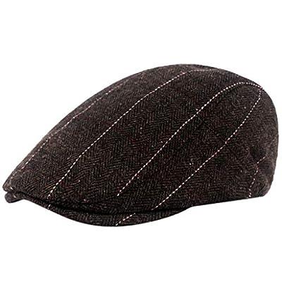 Black Grey Herringbone Newsboy Baker Boy Tweed Flat Cap Mens Gatsby Hat