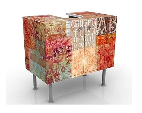 Armoire De Lavabo Salle De Bains Table De Lavabo Armoire De Salle Bains 60 Cm De Large Petit Meuble Sous Vasque Design Calligraphy Pattern 60x55x35cm Lavabo Meuble Bas Baignoire Reglable Meubles Sur