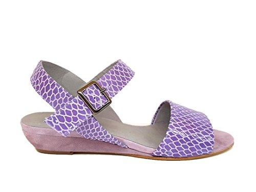 GENNIA Juan - Women´s Leather Sandals with Wedge Snake-lila iAm0B