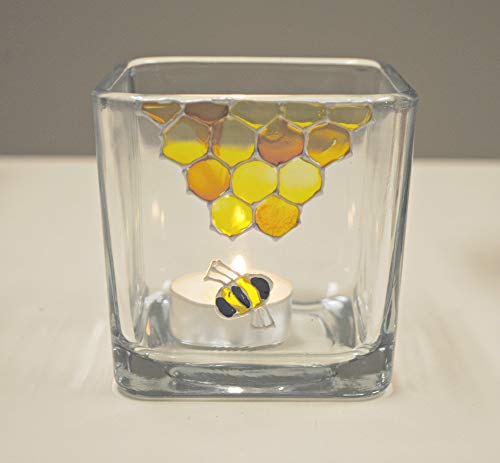 Honey Bee Honeycomb Yellow Hand Painted Stained Glass Square Candle Holder, Bumblebee
