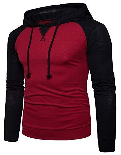 QPNGRP Men's Long Sleeve Hooded T-Shirt Casual Hoodie Shirt B03 WineRed Medium ()