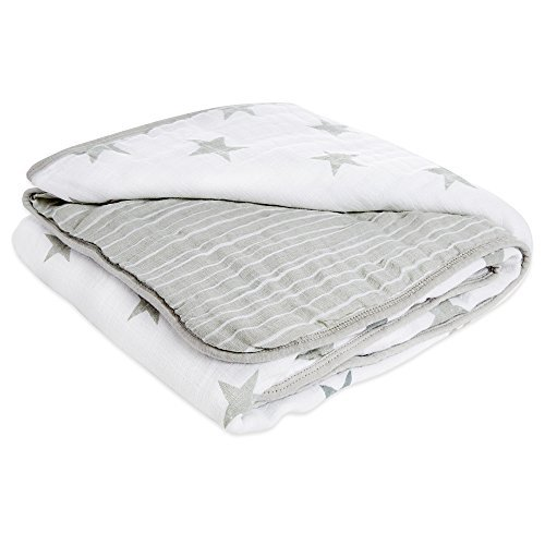 - aden by aden + Anais Muslin Blanket, 100% Cotton Muslin, 4 Layer Lightweight and Breathable, Large 44 X 44 inch, Dusty - Stars