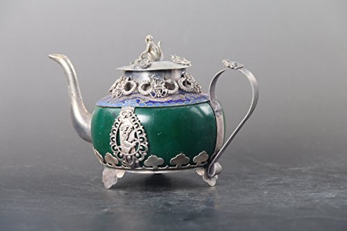 ZAMTAC Exquisite Chinese Hand Carved Tibetan Silver Inlay Green Jade teapot Monkey lid