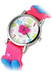 Geekbuying Children 3D Butterfly Design Style Wrist Watch with Stainless Steel Case Rubber Strap - Rose