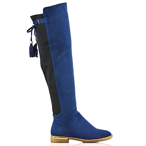 Stretch Knee Suede New Flat Over Tassel ESSEX High Navy Heel The Gold Trim Boots GLAM Womens Ladies Faux XfqwxTwzAO