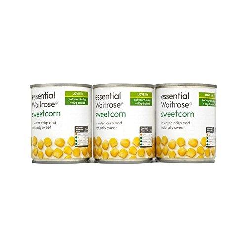 Crisp & Sweet Sweetcorn essential Waitrose 3 x 195g - Pack of 4 by WAITROSE