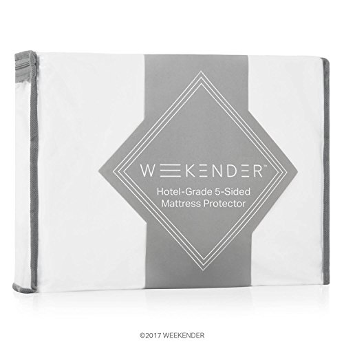 WEEKENDER Commercial-Grade 5-Sided Mattress Protector - Best Quality Protector on Amazon - Waterproof - Quiet - Breathable - High Heat Dryer Proof - Bleachable - Reinforced Seams - Queen