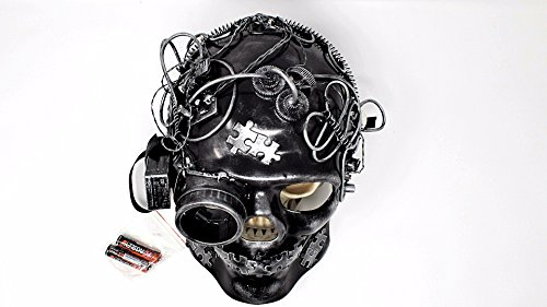 LED Light Up Steampunk Mask Mechanical Full Skull Face Mask Gears and Goggle Costume Cosplay (10 Unique Halloween Costumes)