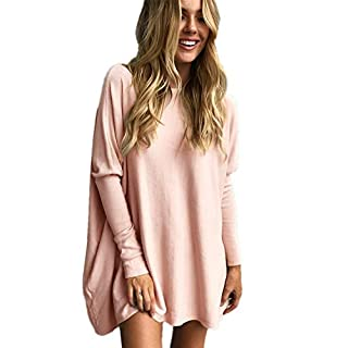 LIYOHON Women's Tunic Tops for Leggings Casual Oversized Shirts Batwing Long Sleeve Loose Fitting Lounge Tops Tunics (YH-Pink,Small)