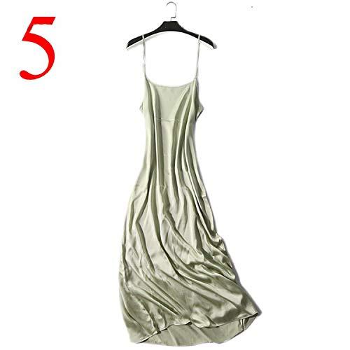 Size Plus 100% Silk Summer Dress Women Nightgown Black 120cm Long Maxi Sleeveless Dress Women Vestidos,Turquoise,XL -