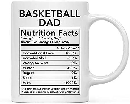 Divertida taza de cerámica para té y café, regalo de agradecimiento, información nutricional de papá de baloncesto, 1 paquete, novedad, regalo de cumpleaños, Navidad, ideas para compañeros de trabajo