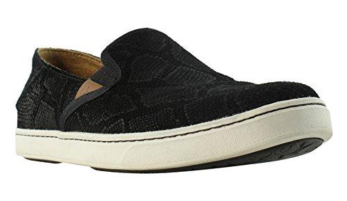 OLUKAI New Women's Pehuea Leather Slip On Black Honu/Black 8.5 ()